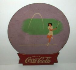 Coca Cola`40s,lady Playing Tennis,wood Racket Shape Advertising Sign-kay Display