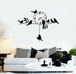 Vinyl Wall Decal Branches Birds Clock Time Leaves Home Interior Stickers G1598
