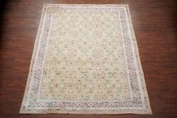 Antique 9X11 Cotton Agra Area Rug 1920s Hand Knotted Indian Carpet (9.1 x 11.5)