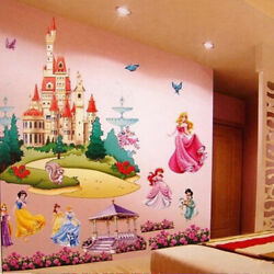 Large Princess Castle Wall Stickers Colorful Vinyl Decal Girls Kids Bedroom Art