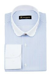 Jack Martin - Peaky Blinders Style - Blue And White Bengal Stripe Slim Fit Shirt