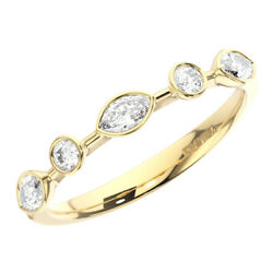 Bezel Set Round And Marquise Cut Diamonds Half Eternity Ring In 18k Yellow Gold
