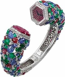 Red Round Carved 925 Sterling Silver Tutti Frutti Womenand039s Cuff Style Wristwatch