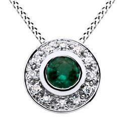 Emerald And Natural Diamond Necklace Pendant 14k White Gold
