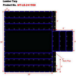New Flatbed Truck Tarp-light Weight Lumber Tarp W/8and039 Drop 24and039w X 19and039l-black