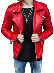Menandrsquos Pure Lambskin Latest Design Jacket Red Color Real Leather Motorbike Jacket