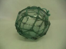Antique Vintage Japanese Glass Fishing Float Ball W/ Rope