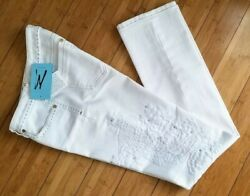Nwt Guess By Marciano White Jeans-pants With Embroidery Size 28 Sale 70 Off