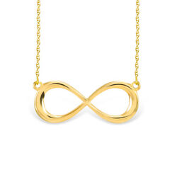 Dainty Infinity Sign Pendant Womens Necklace 14k Yellow Gold