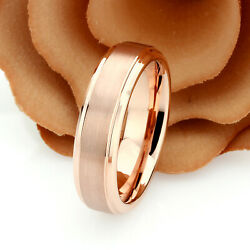 Personalized Women#x27;s 6mm Rose Gold Tungsten Wedding Ring Band Promise Ring $41.00