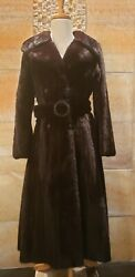 Brown Mink Fur Coat Leather Winter Luxury Small 4 Belted Crystal Belt