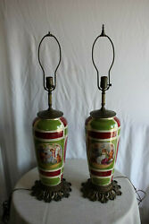 Pair Of Colorful Porcelain Lamps Painted With Scenes From Ancient Greece