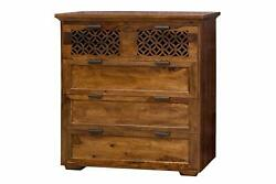 Indian Vintage Handmade Solid Wood Chest Of 5 Drawer Hand Carved Chest