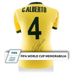 Carlos Alberto Official Fifa World Cup Back Signed Retro Brazil Home Shirt