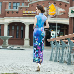 Long Chinese Cheongsam Qipao Dress W Butterfly And Floral Print And Short Sleeve