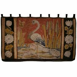 Antique Pictorial Hooked Rug Heron Pattern Maine Waldoboro Wall Hanging Large