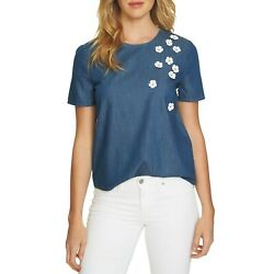 NWT Womens Nordstrom Cece Cynthia Steffe Floral Applique Chambray Blouse Top $19.99