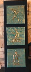 Hawaiian Petroglyph Relief Paintings Triptych 8x24 Bonze Gold Copper Turquoise