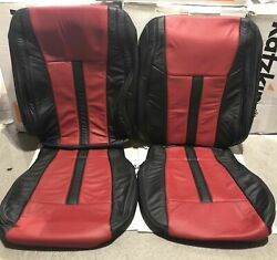 New Ford F150 Super Crew Xlt Custom Katzkin Leather Seat Covers Black And Red
