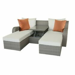 3 Piece Patio Sectional And Ottoman Set In Beige Fabric And Gray Wicker - Synthet...