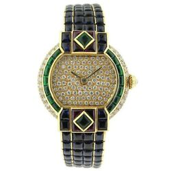 925 Sterling Silver Womens Wrist Watch Blue Princess Yellow Gold Plated White