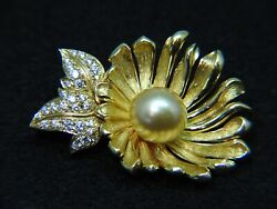 Mikimoto Flower Pin Brooch 18k Yellow Gold 11cm Golden Southsea Pearl And Diamonds