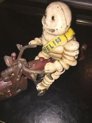Michelin Tire Man Motorcycle Cast Iron Patina Set Lot Hotrod Harley Collector