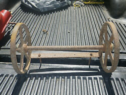 Antique 12 Industrial Rr, Warehouse Cart Table Wheels Cast Iron W/ Axel And Mount