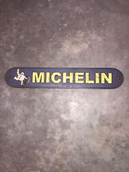 """Michelin Man Tires Garage Cast Iron Sign 20"""" Patina Solid Metal Collector Dealer"""