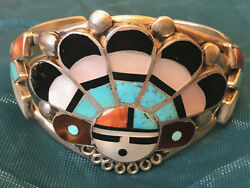 Best Zuni Attr Mary Kallestewa Sun Face Bracelet Mosaic And Channel Inlay 1940and039s