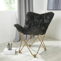 Comfy Black Faux Fur Butterfly Folding Chair Seat Teens Dorm Bedroom Furniture