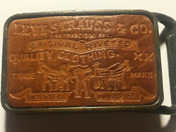 Vintage 1970s Levi Strauss And Co. Clothing Brass Tone Leather Belt Buckle Rare