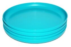 Tupperware Set Of 4 Party Plates Round 9.5 Luncheon Dishes Aqua Blue