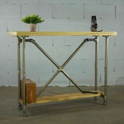 Houston Industrial Vintage 2-tier Pipe Console/sofa Hall Table Metal And Recl...