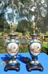 Pair Of Ornate Asian/oriental Gilded Porcelain 28 Two Handled Table Lamps
