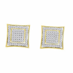 Round Simulated Diamond Square Stud Earrings For Men's .925 Sterling Silver