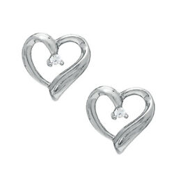 Natural Diamond Accent Heart Stud Earrings In Sterling Silver Valentine Gifts