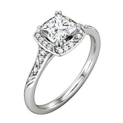 14k White Gold 5mm Square Accented Engagement Ring Mounting