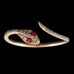 0.13 Ct Pave Ruby And Diamond 14k Rose Gold Snake Of Slytherin Cuff Ring