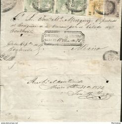 J 1872 Mexico, Front Of Letter, Hidalgo's Head, Strip Of 4 Green, 1 Yellow, 1 L
