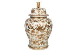 White And Gold Floral Porcelain Temple Jar 18.5