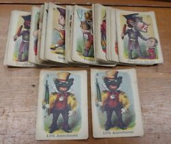 Antique 1870's Old Maid Cards With Anti - 5th Amendement Cards Rare Americana