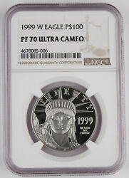1999 W 100 1 Oz 9995 Platinum American Eagle Proof Coin Ngc Pf70 Uc