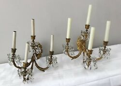 Antique Gilt Bronze Crystal Beaded French Chandelier Wall Sconces Pair 4 Light