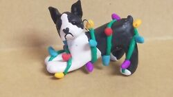 BOSTON TERRIER Christmas Ornament TANGLED IN LIGHTS HAND MADE