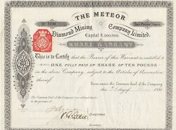 The Meteor Diamond Mining Company Limited Rare 1881 Share Certificate