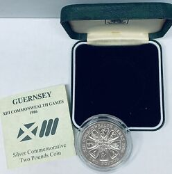 1986 Guernsey Commemorative Silver Two Pounds Coin Proof Xiii Commonwealth Games