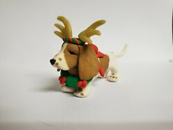 BASSET HOUND Christmas Ornament w WREATH and ANTLERS Polymer Clay HAND MADE