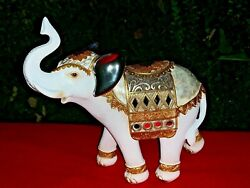 Vintage Good Luck Trunk Up Elephant Statue Figurine Marble Pearl Mirror ❤️m13