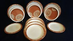 12pc Denby Langley Fire Chilli 10.5 Dinner And 9 Salad Plates Set, England